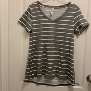 Gray and White Striped Christy T NWOT